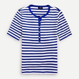 J. CREW Elbow Sleeve Striped Henley Shirt Top 2X